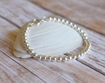 Silver bracelet, dainty silver bracelet, womens bracelet, silver bead bracelet, gifts for her, beaded bracelet, silver jewelry, sterling