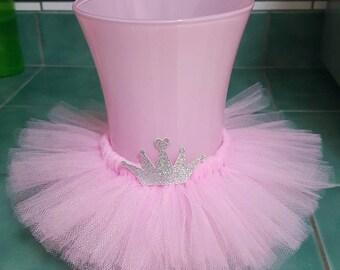 VASE TUTU princess party decoration centerpiece crown birthday wedding pink baby shower bridal wine bottle 16 ballerina mason jar silver