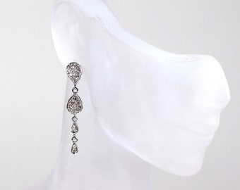 Diamond Drop Earrings 14k White Gold Diamond Dangles