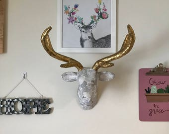 Collaged Gray and White Deer Head Wall Mount with Gold Antlers