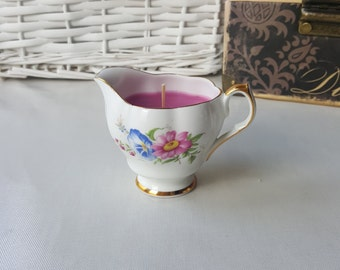 Bone china milk jug hand poured scented candle Queen Anne
