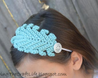Feather Headpiece Applique - Crochet Pattern Tutorial - Instant Download