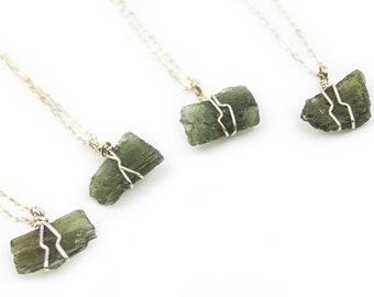 Moldavite Sterling Silver Wire Wrap Pendant ~ Cosmic Consciousness