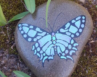 Swallowtail on Stone-TurqPurp/Butterfly Painting/Wildlife Art/Butterfly Decor/Painted Rock/Garden Stone/Yard Art/Home Decor/Gift for Her