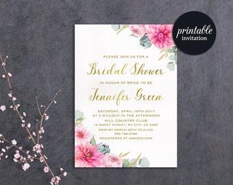 Printable Bridal Shower Invitation Floral Bridal Shower Invitation Pink gold Boho Bridal Shower Invitation, Summer Bridal Shower Invite
