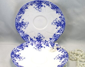 2 Shelley Orphan Saucers, Dainty Blue Pattern, Bone English China made in 1950s