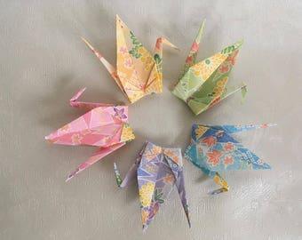 100 Origami Cranes - Gerbera print - Japanese Washi Paper