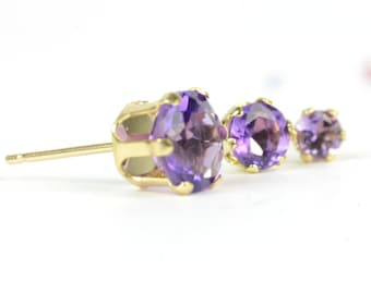 Amethyst gold earrings, one pair 9k yellow gold and amethyst studs, three sizes, purple gemstone earrings, February birthstone gift for her