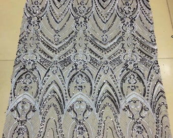 New fashion Sparkly sequins  on Mesh embroidery Lace Sequin Fabric For dress/Clothes/Events dress lace fabric one yard