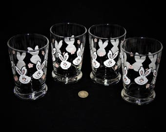 Vintage Bunny Juice Glasses, Set of Four
