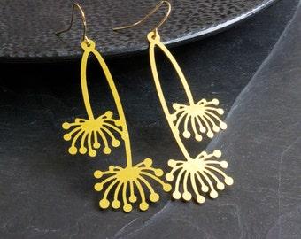 Brass Earrings-Floral