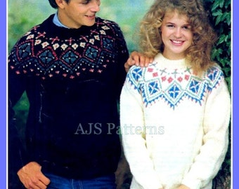 PDF Knitting Pattern For Nordic Icelandic Yoked Fair Isle His & Hers Sweaters - Instant Download