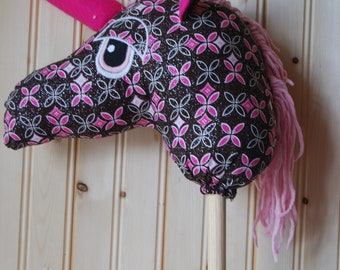 Sparkly Unicorn pink and brown stick horse unicorn hobby horse for kids.