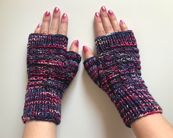 Unique Fingerless Gloves Women's Texting Gloves Hand Warmers Multicolored Knit Gloves Mittens