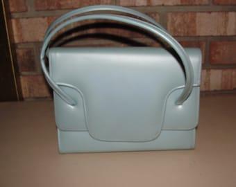 Vintage 60s Powder Blue Vinyl Purse Handbag Easter Sunday