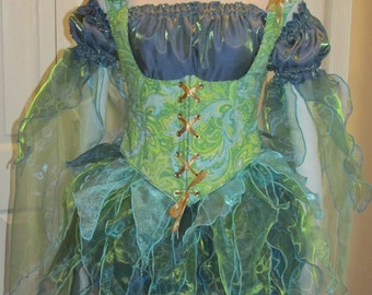 DDNJ Choose Color Fabric Renaissance Fairy Pixie Sprite 4pc Cosplay Larp Anime Plus Custom Made ANY Size Medieval Lolita Kawaii Costume