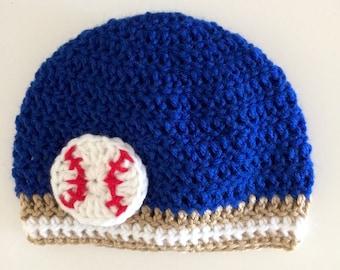 Baby Boy Baseball Hat Kansas City Royals Baby Boy Crochet Hat Baseball Team Colors Beanie photo prop beanie (choose team)