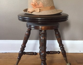 Vintage tan fedora wool hat/feather