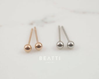 Tiny 2mm/3mm Ball Earrings, Surgical Steel Earring, Tiny Stud, hypoallergenic earrings, tiny stud earring, minimal earring