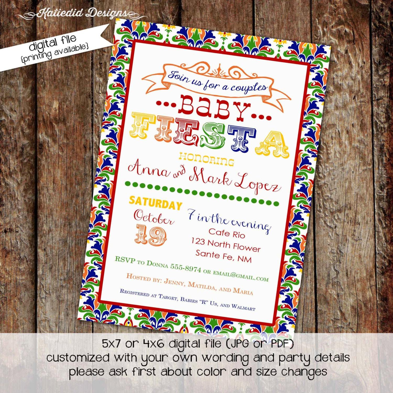 Fiesta baby shower invitation Fiesta gender reveal invitations
