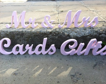 Wooden Letters Wedding set  Mr & Mrs, CARDS, GIFTs wooden  signs - unpainted, painted or glitter, script wooden letters