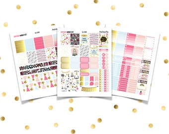 BIRTHDAY Weekly Kit // Printable Planner Stickers / Erin Condren Plum Paper Happy Planner Filofax Inkwell Press Celebration Party Gold