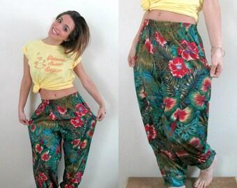 Tropical Print Harem Pants Vintage 1980s Grunge Summer