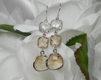 Peach Champagne / Silver, Peach Bridesmaid Earrings, Champagne Peach Glass earrings Bridesmaid Jewelry Bridesmaid Gift Silver Earrings PDS2