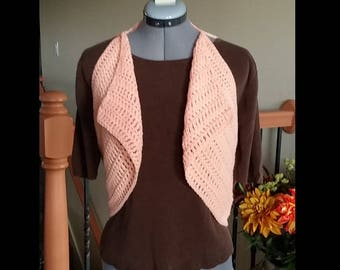 Crochet Circle Vest, Crochet Bohemian Vest, Crochet Vest, Motif, Peach