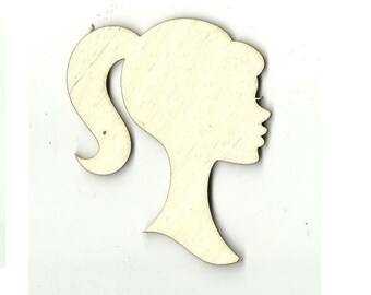 Girl Doll Silhouette - Laser Cut Out Unfinished Wood Shape Craft Supply TOY8