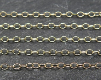 14k Gold Filled Cable Chain 2 x 1.4mm ~ by the Foot