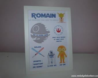 Frame poster star wars room decor baby birth child yoda Black Star