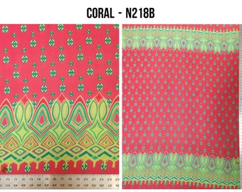 Geometric Border Pattern on Non-Stretch See Through Polyester Chiffon Fabric - 58 to 60 Inches Wide - By the Yard or Bulk