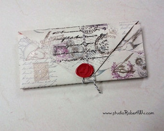 Booklover's Paper Wallet - Writing Theme - 14 pockets Folder Organizer