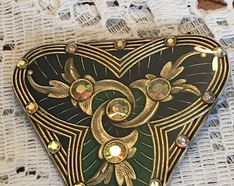 Catherine Popesco Made in France Brooch Pin Green and Black Triangle Shape with Crystals Gold Tone Setting