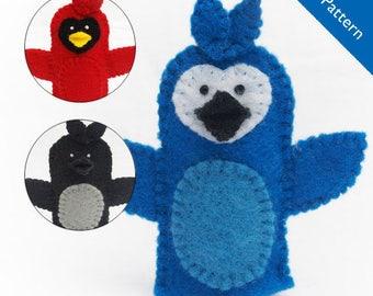 Bird puppet pattern, blue jay finger puppet pattern, cardinal puppet pattern, black bird puppet pattern, crow puppet pattern, PDF pattern