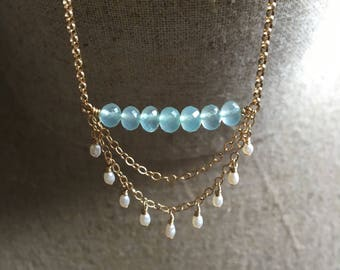 Aqua Chalcedony and Pearl Fringe Necklace, Beaded Bar Pendant, Chalcedony Gemstone Row Necklace, Bohemian Fashion, Dainty Jewelry