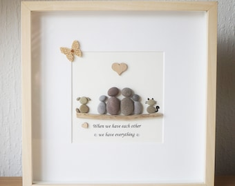 Pebble Picture, Pebble Art framed Picture - Family, Family and Children ,Dog ,Cat - When we have each other