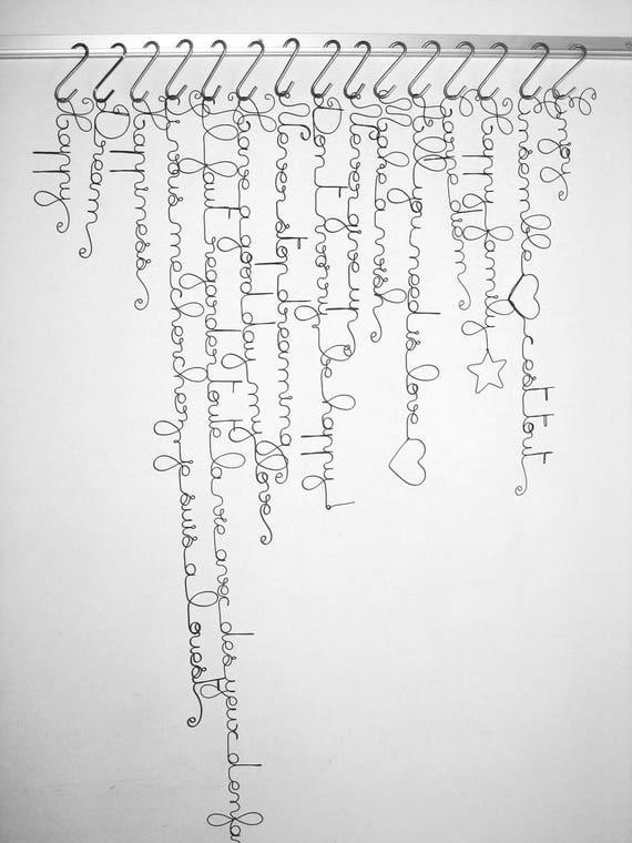 Word-Draht Draht Draht Draht Wand Dekoration Zitat Satz