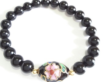 Black Onyx Bangle Bracelet with Pink Flower Cloisonne Focal Bead, Black Stretch Beaded Bracelet