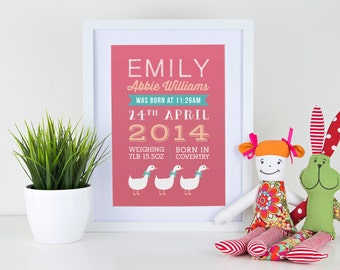 Personalised new baby girl pink birth announcement print with white ducks geese for gift, nursery with or without frame