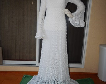 hand crocheted WEDDING DRESS and SHAWL