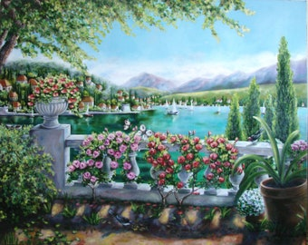 """Painting """"LAKE VIEW"""", Oil Painting on canvas, Original Artwork, Original Painting, Large oil painting, Panoramic painting"""