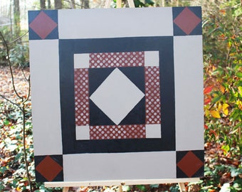 """24"""" x 24"""" Amish inspired, Tan Rust and Black Barn Quilt  - IN STOCK!"""
