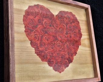 roses heart shaped bouquet print