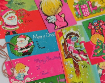 Lot Cute Vintage Christmas Gift Tags and Seals ~ RETRO Brights