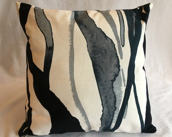 """Blue and White Abstract Stripes Cushion - 16"""""""