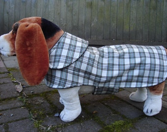 Cream and Green Plaid Dog Coat- Medium - 14-16 Inch Back Length - Or Custom Size