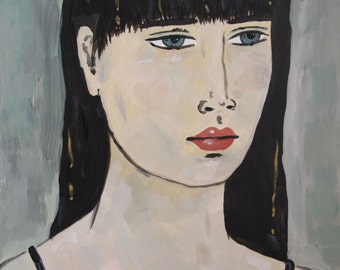 Portrait with Black Hair - Original Portrait Painting Gold Expressive Abstract