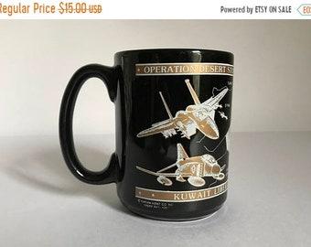 Sale - Vintage c. 1991 Operation Desert Storm Large Coffee Mug - Military Decor - Kuwait Liberation